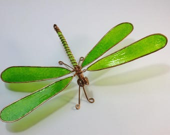 Dragonfly: Copper wire and paper drgaonfly - table art, wall art, window art - green and copper dragonfly