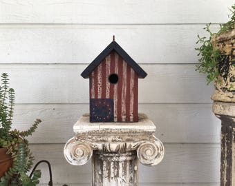 Red and Blue Colonial birdhouse
