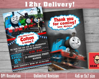 Thomas The Train Invitation with FREE Thank you card! Thomas The Train Birthday , Thomas The Train Birthday Invitation , Thomas Train Party