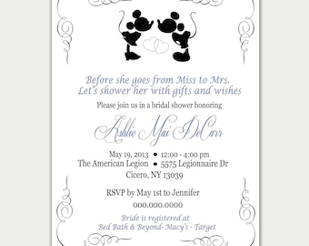 Disney Bridal Shower Invitation