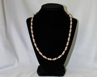 Grey, White & Pink Faux Peal Necklace