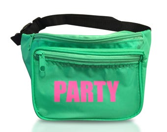 Party Fanny Pack Neon Green (Free Shipping, 3 Pockets)