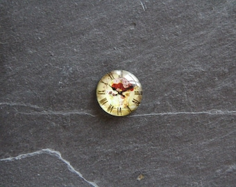 """20 mm clock """"Bouquet of roses"""" cabochon glass"""