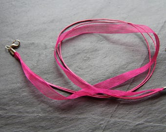 Organza necklace / Fuchsia colored Nylon