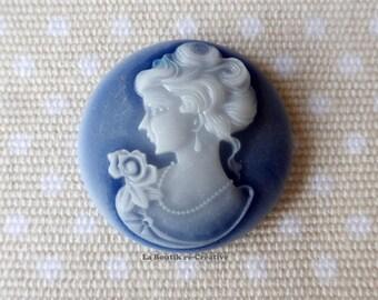 1 x large cabochon cameo woman profile blue 30 mm