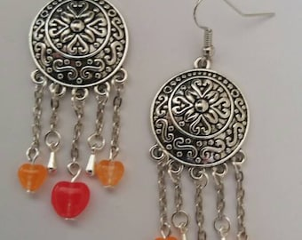 Chunky orange and red drop earrings