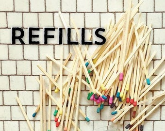 Refills. Tip Colored Matches. Match Sticks. Farmhouse Nordic Home Decor. Unique Gifts for her. Best Seller. Most Popular Item.