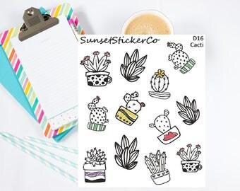 Cacti Doodle Sticker (D16)