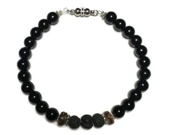 Men's beaded bracelet, diffuser for men, oil diffuser bracelet, quartz beads, gift for him, essential oil, anxiety relief, diffuser jewelry