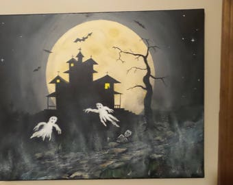 """Halloween Picture on stretched Canvas 16""""x 20"""""""