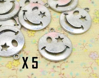 5 x smiley smile head silver charm