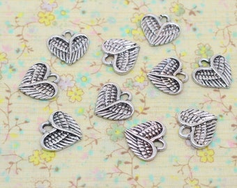 10 x bird feather silver 13mm Angel Wings Heart Charm / 13mm