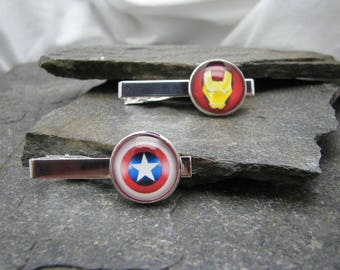 Superhero Tie Clips, Superhero Cufflinks, Superhero Tie Bars, Superhero Cuff Links