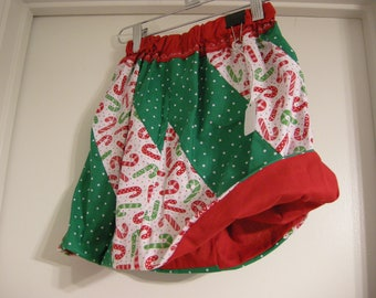 Handmade Reversible Winter/ Christmas skirt US size 6, Candy Canes, Green and white Polka Dots, Unique stitching