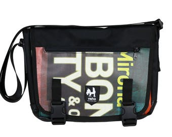 Crossbody bag. Vegan billboard messenger bag laptop man and woman. Waterproof cross body bag. Shoulder bag from recycled advertising vinyl