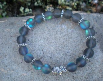 Bluish grey Moonstone Yoga BRACELET silver spacers and transparent