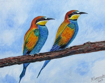 Limited Edition Giclée print on stretched canvas by Martin Romanovsky:  East Leake Bee Eaters 1 number #01/150