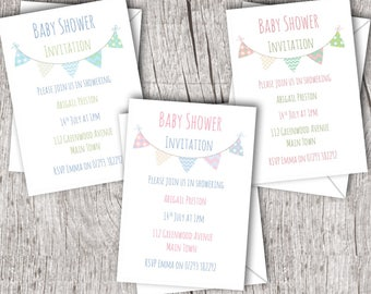 Printed Baby Shower Invitations inc. envelopes - Flat Style - Personalised