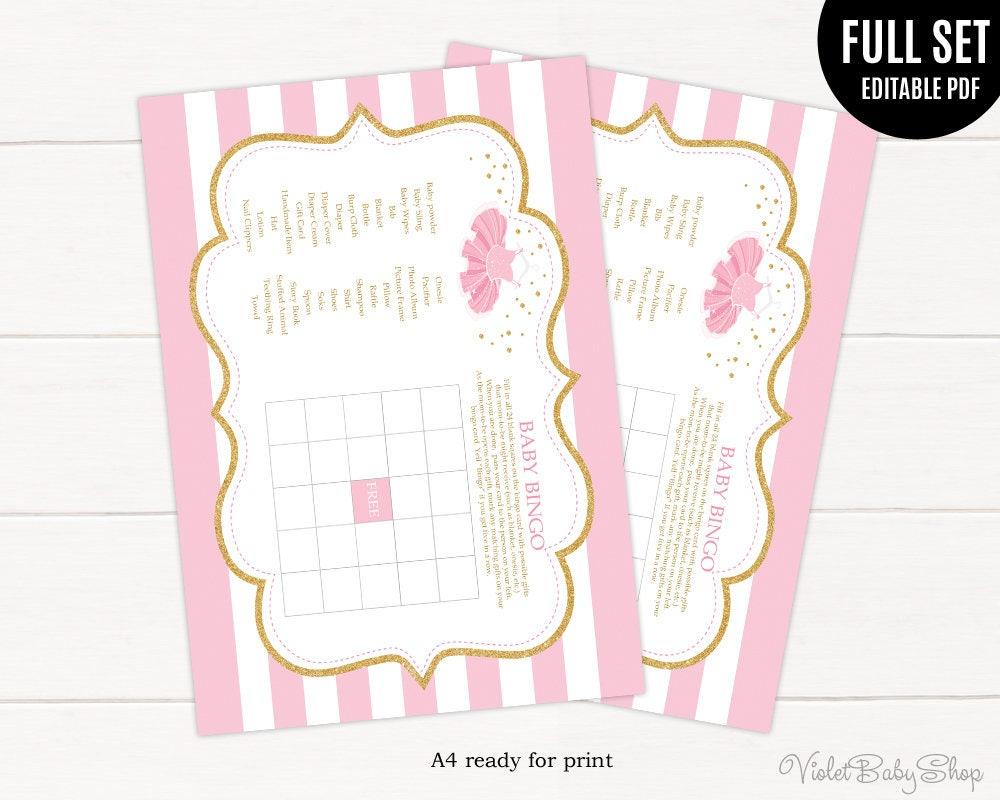Tutu Excited Baby Shower Bingo Game Template. Printable Bingo Game. Gold  And Pink Bingo