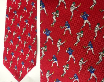 90s Red Football Mens Tie, Football Player Tie, Football Tie, Football Lover, Fall Tie, Red Tie, Silk Tie, Preppy Tie, Sports Tie, 90s Tie