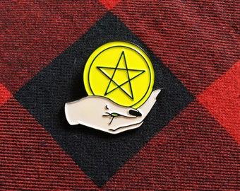 Ace of Pentacles Tarot Enamel Pin