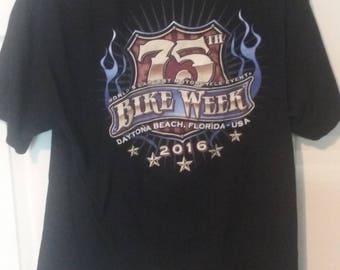 Daytona Beach Bike Week 75th Anniversary T-Shirt Sz XL