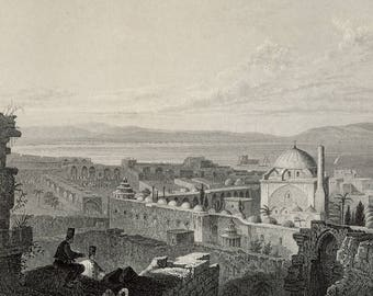 St. Jean d'Acre, Mount Carmel in the Distance, Palestine 1841 - Old Antique Vintage Engraving Art Print - Ruins, Minarat, Mosque, Sea, Boats