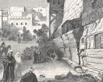 The Robison Arch in Jerusalem, Palestine 1869 - Old Antique Vintage Engraving Art Print - Men, Women, Sitting, Smoking, Pipe, Rug, Turban
