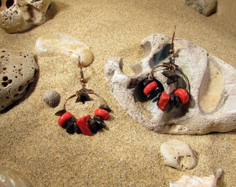Red sandstone and black shell earrings
