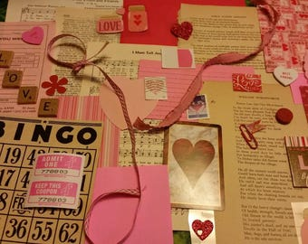 Valentine Inspiration Kit / Ephemera / 40+ Pieces / Daily Planner / Valentines Day / Junk Journal