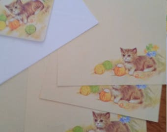 Vintage Stationery Collection ~ Yarn Charm Kitten Stationery Mini Collection