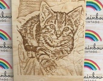 Rainbow Bridge, In Loving Memory of Your Special Pet - Personalised Wooden Memorial - A4