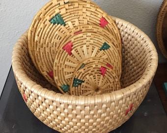 2 Tone woven  basket