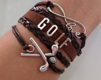 Golf bracelet, Golf gift, Golf Coach jewelry, Golf Mom Gift, Golf Sports Team jewelry, Sports jewelry, Brown colors