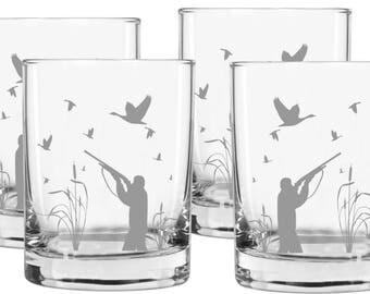 Hunter Gift Whiskey Glasses, set of 4, Gifts for Men, Gift for Hunter, Best Gifts for Men, Whiskey Glasses, Hunter Gift, Duck Hunter Gift