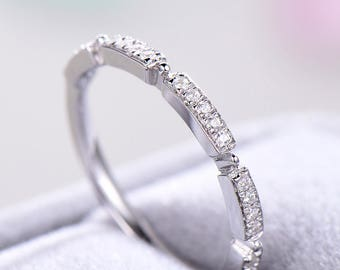 Unique Half Eternity Wedding Band 925 Sterling Silver White Gold Bridal Stacking Band CZ Cubic Zirconia Matching Promise Ring Gift for Her