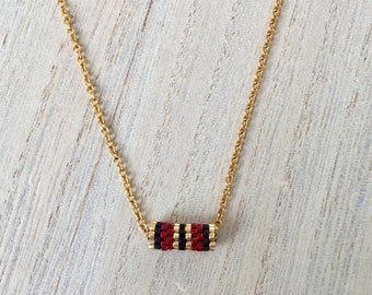 Necklace short tube Burgundy, black and gold
