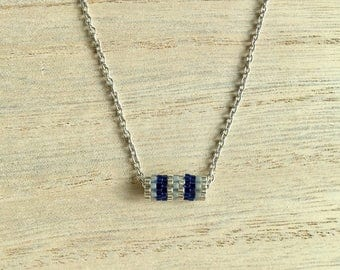 Necklace short blue, grey and silver tube
