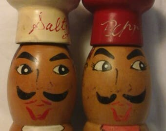 Vintage wood Salty and Peppy shakers