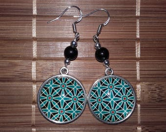 Earrings rose psychedelic pattern!