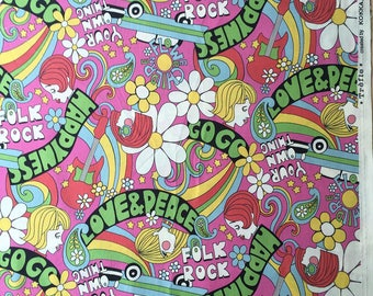"""Japanese cotton 23 x 110 cm """"Peace & Love"""" - RARE last coupon in stock!"""