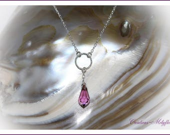 Silver necklace with Pendant in Lilac Swarovski crystals