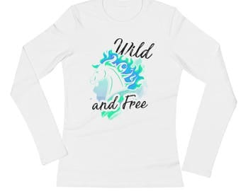 Wild And Free..., Ladies Long Sleeve Jersey T-Shirt