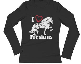 I Love Fresians Ladies Long Sleeve Jersey T-Shirt