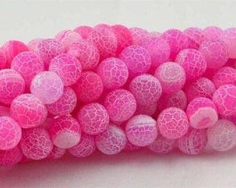 "Pink Frost Dragon Vein Agate Beads  14"" strand"