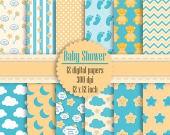 12 Baby Shower Digital Papers in 12 inch 300 Dpi Instant Download, Scrapbook Papers, Kid Digital Papers, Commercial Use