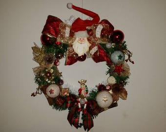 """Crown Noël Précieuse """"Santa Claus red/white/green"""" handmade"""