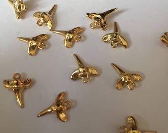 Shark tooth pendant gold