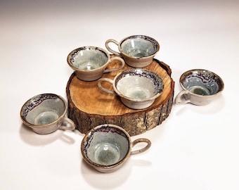 Set of 6 Mugs / Crackle Pottery / Oceanic Mugs / Small Ceramic Mugs / Ceramic Tea Mug Set / Ceramic Tea Cup Set / Stoneware Mugs
