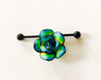Blue yellow black rose floral charm on stainless steel 14g industrial body jewelry